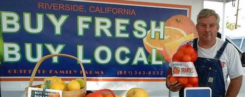 Brian Griffith of Griffith Family Farm in Riverside, CA selling locally grown produce